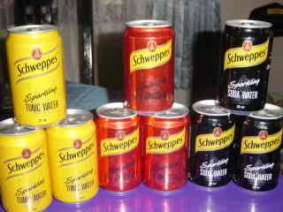Schweppes Soda cans/bottles
